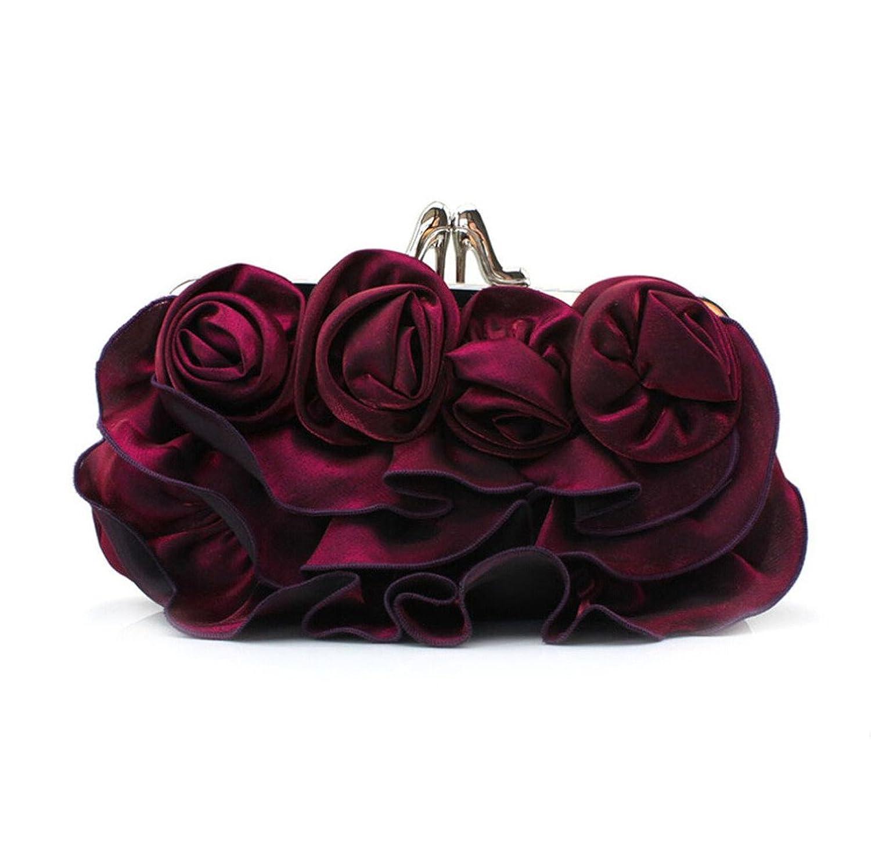 Abless Women Stain Rose Flowers Wedding Prom Fashion Clutch Evening Handbag - Purple