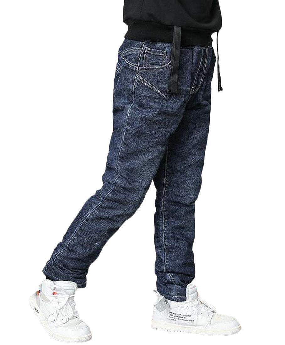 Pandapang Boys Fashion Fleece Trousers Thicken Denim Jeans Pants