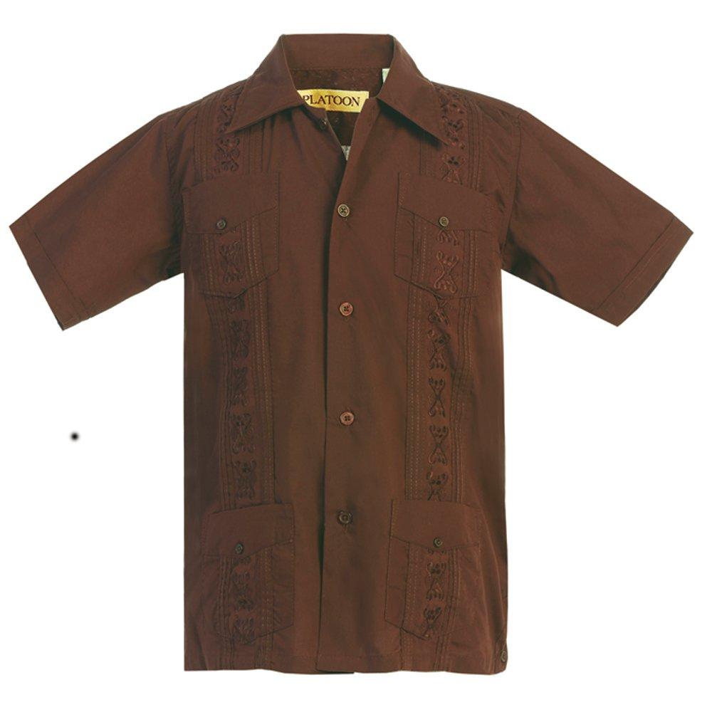 Platoon Kids Boys Guayabera Short Sleeve Cuban Shirt Wedding Beach - Toddlers & Juniors