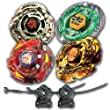 Beyblade Combo 4 Pack L Drago Guardian + Meteo L-Drago Rush Red + L-Drago Gold Destructor + Flame Libra Metal Fusion 4D with 2x LL2 Launcher and Rip Cord // SHIPPED AND SOLD FROM US