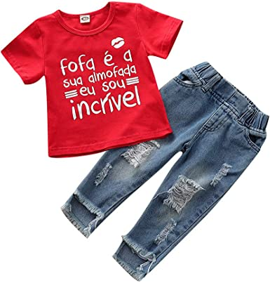 2PCS Toddler Kids Baby Girls T-shirt Tops+Ripped Jeans Pants Outfits Clothes Set