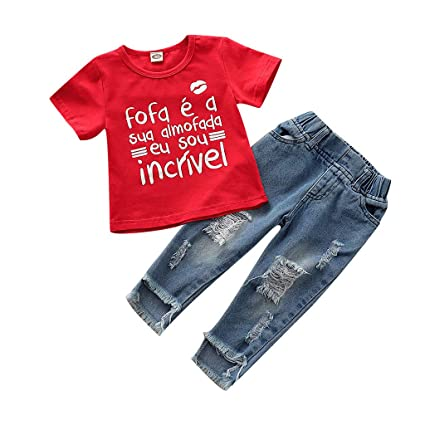 75482618f6cca Staron 2019 Summer Boys Girls Playwear Clothes Set for Toddler Baby Girl Kid  Letter Printed T Shirt Tops + Jeans Pants Outfits Set: Amazon.in: Sports,  ...