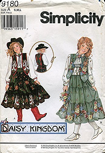 Simplicity Daisy Kingdom Pattern 9180 Girls' Tiered Skirt, Blouse and Vest, Size A (7-14)