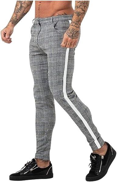 Amlaiworld Hommes Chino Slim Fit Rayé Casual Élastique Pantalon de Sport Décontracté pour Homme à Carreaux Coupe Slim Pantalons de Jogging