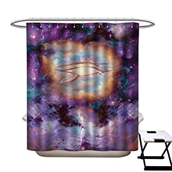 BlountDecor Astronomy Shower Curtain Customized Psychedelic Fantastic Backdrop With Nebula Outer Space Trippy Image Print Bathroom