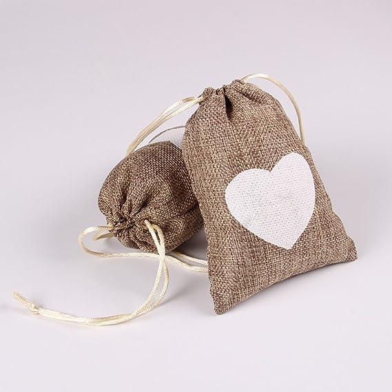 Advantez 10-Pack Natural Jute Burlap Sacks Favor Bags Jewelry Pouches Rustic Wedding Bridal Shower