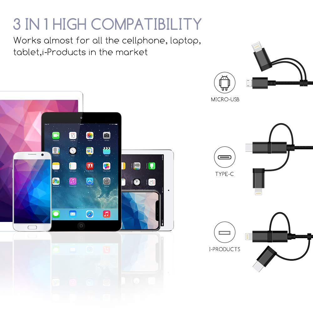 Multi USB Charging Cable for USB C/Micro USB/i-Products, 4ft 3-in-1 Nylon Braided Multiple Charger Cable with Adapter Connector(Data Sync Charging) for Phone Pad Samsung LG Huawei/Android Devices