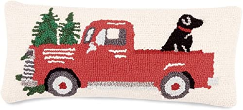 Mud Pie RED TRUCK DOG HOOKED PILLOW