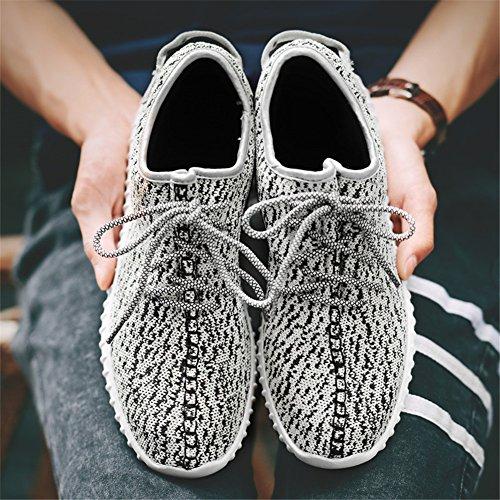 Para hombre zapatillas gimnasio Walking zapatillas Fitness deportes de ligero zapatillas de running blanco, gris