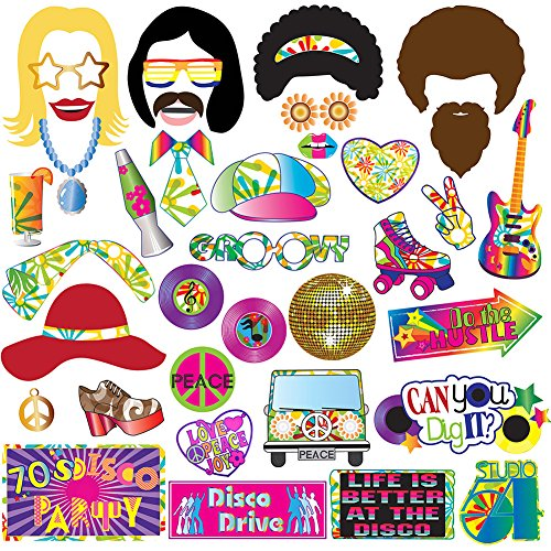 70's Photo Booth Props Party Supplies Kit For 70's Party Decorations Disco Fever,Hippie Party, I Love 70's, Groovy Photobooth Props, 1970's Party Supplies by TMCCE
