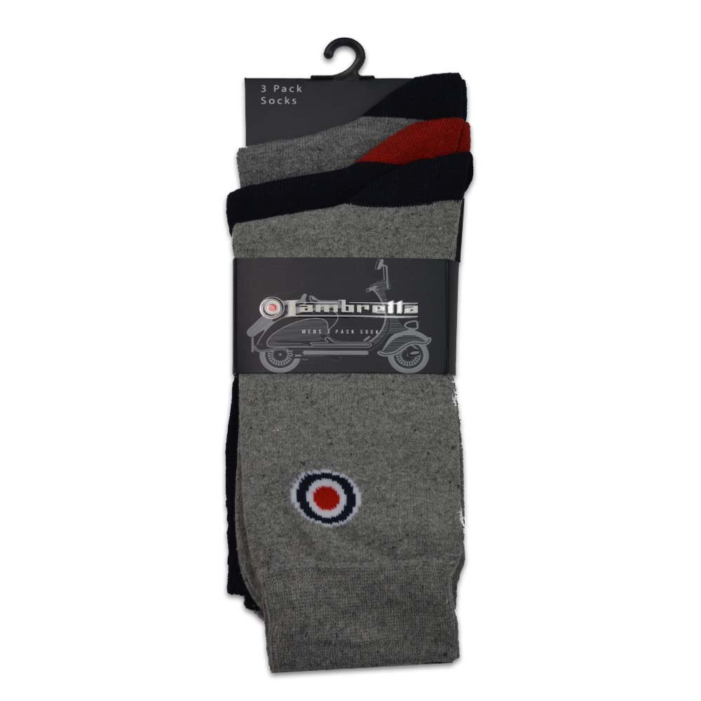 Lambretta Men's 3Pk Socks (One Size, Navy/Grey)