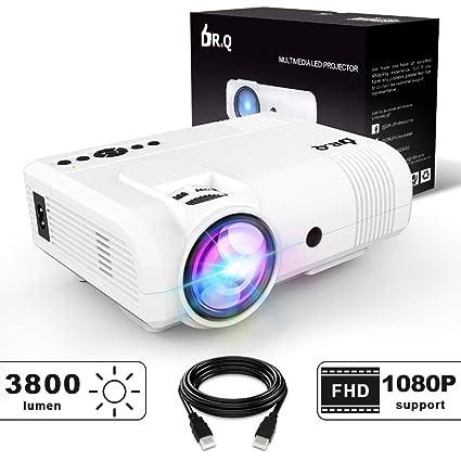 Proyector DR.Q, Mini Proyector Lumen 3800, Proyector de Video Soporta 1080P HD, Incremento de 90% en Salida de Luz de Colores y Tiempo de Vida de la ...
