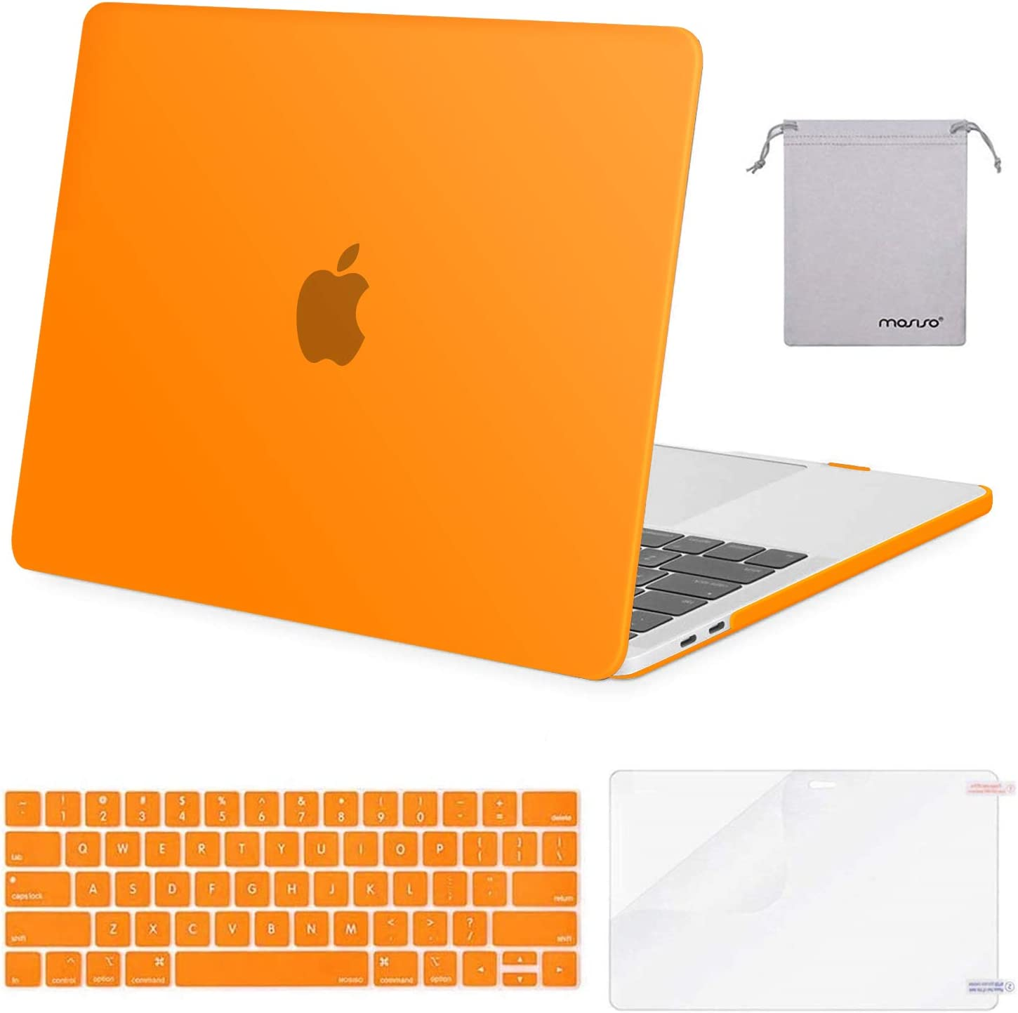 MOSISO MacBook Pro 13 inch Case 2019 2018 2017 2016 Release A2159 A1989 A1706 A1708, Plastic Hard Case&Keyboard Cover&Screen Protector&Storage Bag Compatible with MacBook Pro 13 inch, Orange