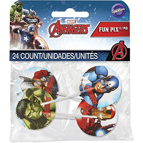 Wilton Marvel Avengers Fun Pix Cupcake Toppers, Multicolor