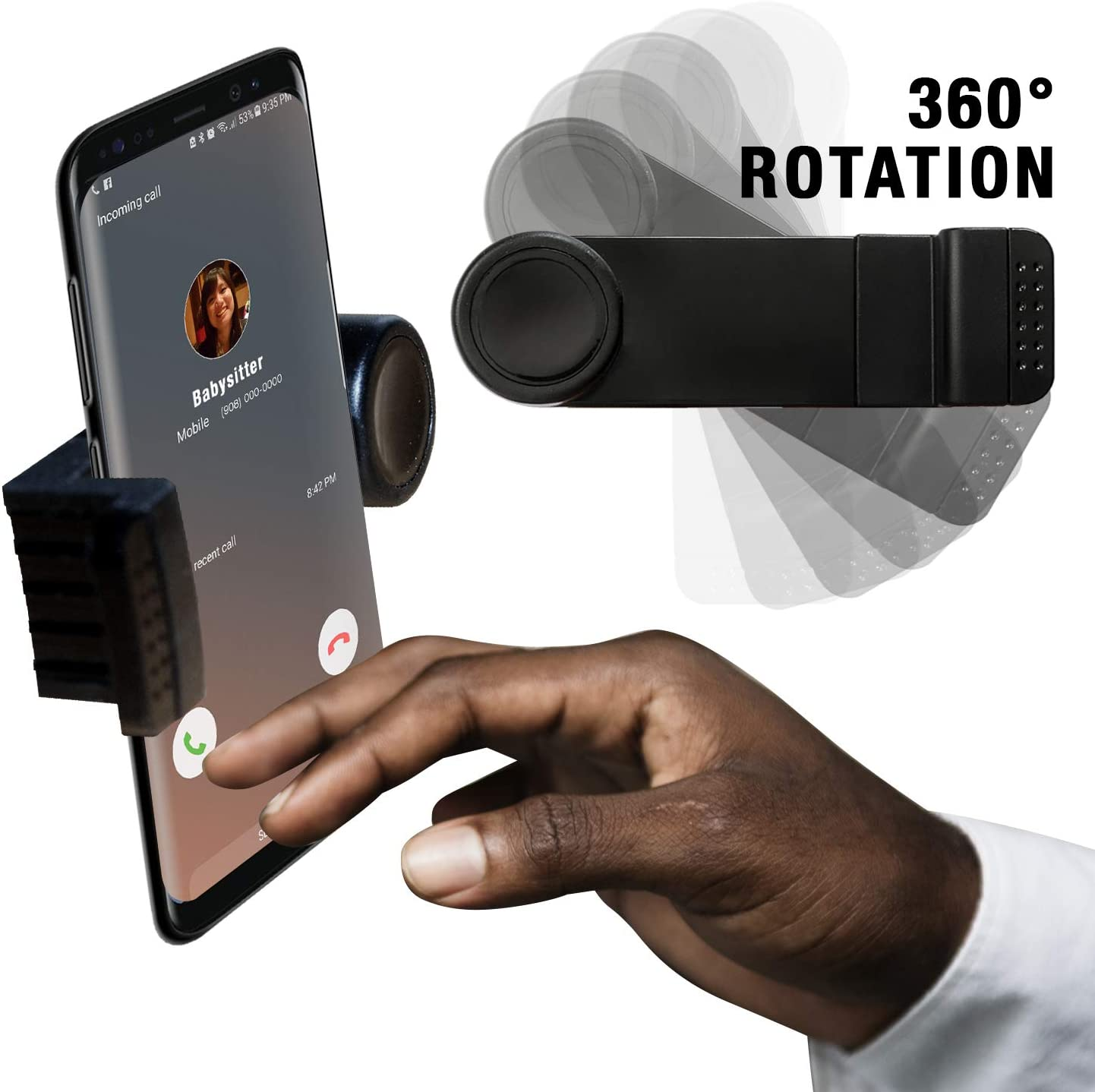 Universal Vent Phone Holder Expands for All Cell Phones iPhone and Android Phones Easy to USE Fully Adjustable with 360/° Rotation. Car Phone Holder Stick to car air Vent No Tools Required