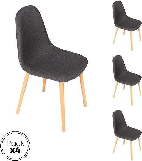Verona gris Silla patas madera y asiento tapizado tela gris estilo ...