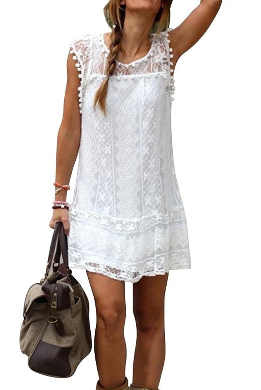 Damen Sommer Ärmellos Weiß Kleid Minikleid Abend Partei Ballkleid ...