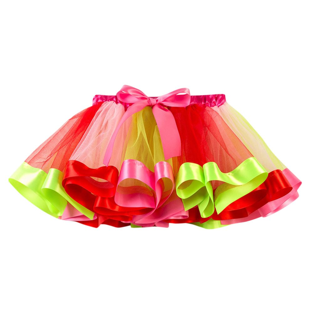 Kobay Baby Girls Skirts, Girls Kids Tutu Tulle Party Dance Ballet Toddler Rainbow Costume Skirt Dress Fancy Party for 2-10 Years
