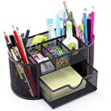 VANRA Metal Mesh Desk Supply Caddy Desktop Office Supplies Organizer Supply Holder 8 Compartments with Drawer (Black)