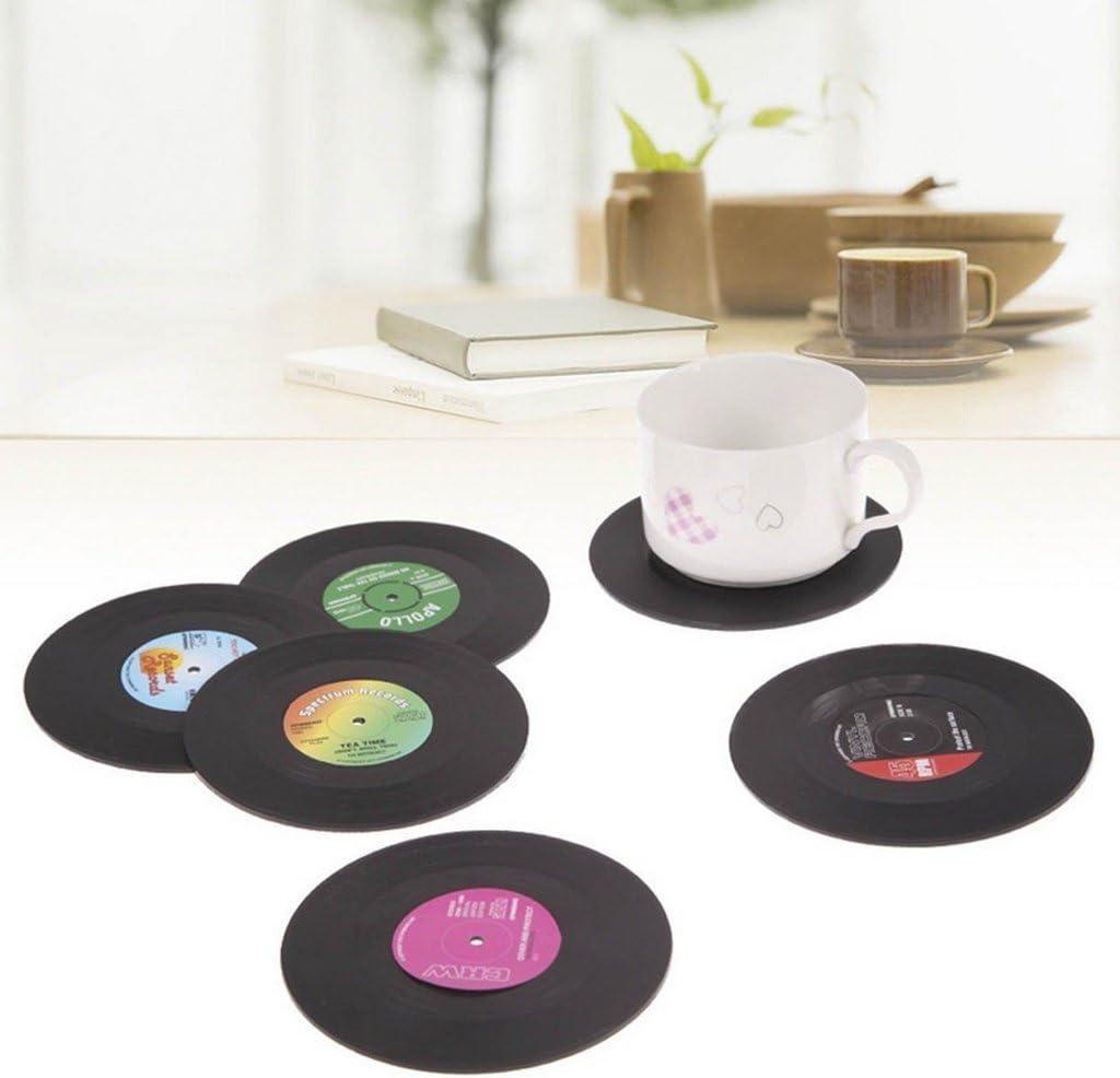 JUYUAN-EU 6pcs Coaster Copa Sostenedor de Bebida Mat Tabla Mantel Forma de CD Vinyl Record Redonda Vendimia Spinning retro del disco de vinilo bebidas Posavasos Mat: Amazon.es: Hogar