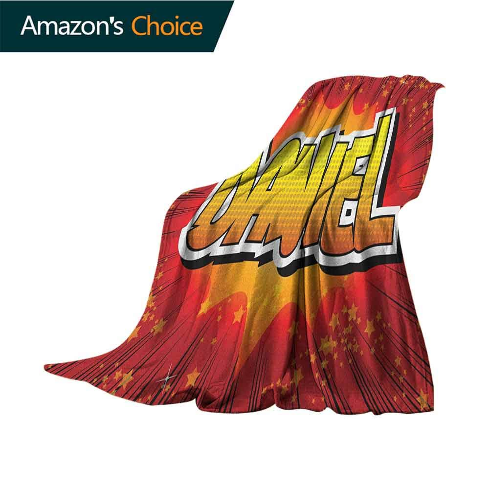 Daniel Throw Blanket for Couch,Retro Backdrop with Stars and Explosion Detail with American Boys Name Indoor/Outdoor,Comfortable for All Seasons,70'' Wx90 L Red Orange and Yellow
