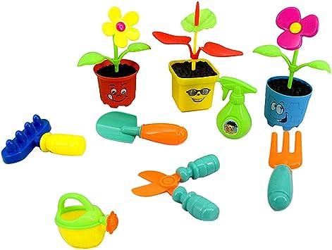 non-brand 9 Piezas Pretender Jardín Herramientas Juguete Conjunto Preescolar Juguete Educativo para Niños Pequeños, Plantar Flores Conjunto De Herramientas: Amazon.es: Juguetes y juegos