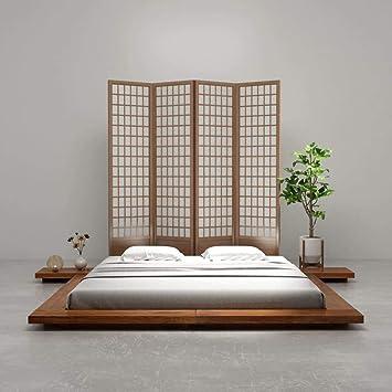 Fesjoy Futon Bed Frame - Cama de Matrimonio de Madera Maciza para colchones de 180 x 200 cm, Estilo japonés para el hogar Hotel: Amazon.es: Hogar