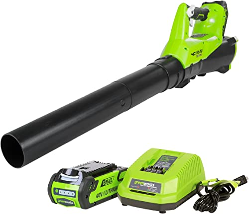 Greenworks 40V Electric Leaf Blower, 430 CFM 115 MPH, 2.0Ah Battery and Charger Included BA40L210