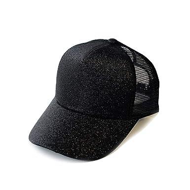 f4683ed40 RICHTOER Glitter Ponytail Hats for Women Messy Trucker Hat Plain Holder  Visor (Black): Amazon.co.uk: Clothing