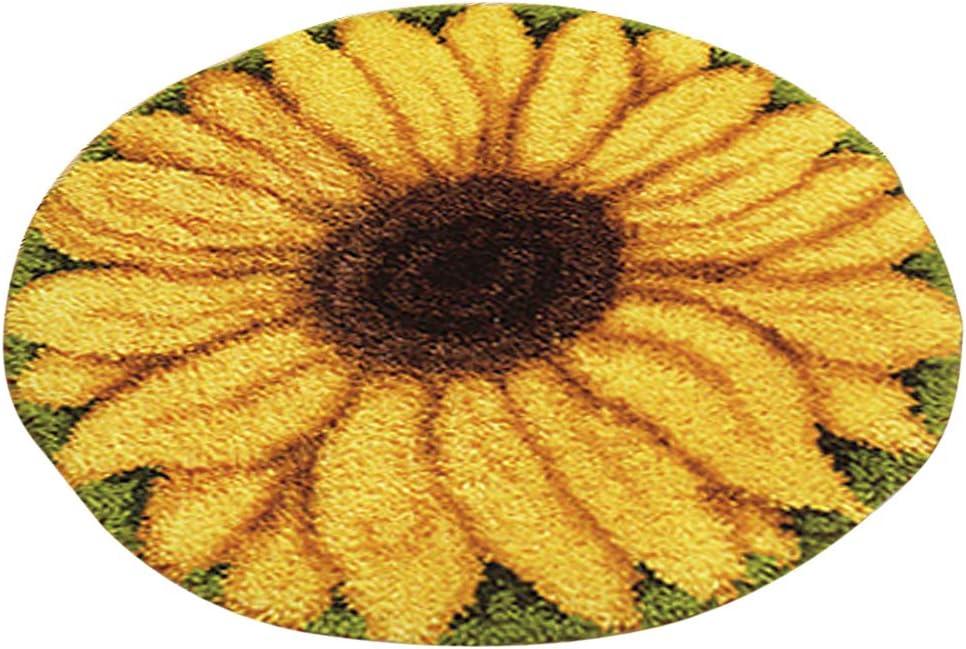 Fenteer Sonnenblume Kn/üpfteppich Formteppich f/ür Kinder und Erwachsene zum Selber Kn/üpfen Teppich Latch Hook Kit Child Rug 50 by 50 cm
