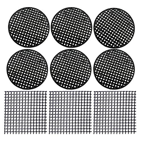 Flower Pot Hole Mesh Pads 128 PCS Plastic Mesh Screen - 108 PCS 4.6cm Round Bonsai Bottom Grid Mat and 20 PCS 5x5cm Square Rigid Polyethylene Garden's Drainage Mesh Hole -