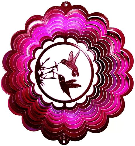 (Hummingbird Double Raspberry Wind Spinner, Metal Yard Art and Outdoor Décor, 12 Inch)