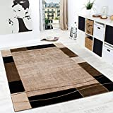 Paco Home Designer Rug Living Room Rug Modern Border in Brown Beige Unbeatable Deal, Size:120x170 cm