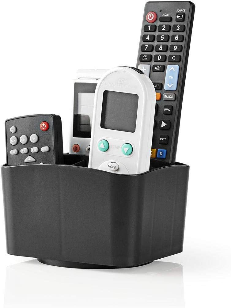 Invero Universal 360 Degree Rotatable 5 Compartment Remote Control Holder Stand Organiser - Black