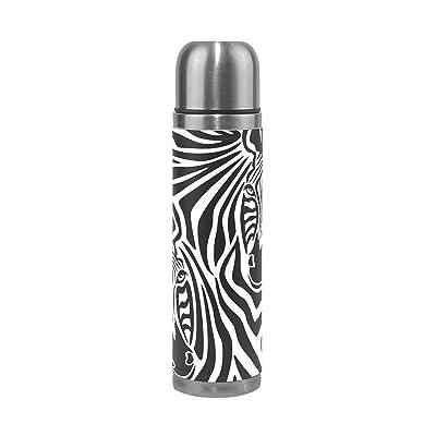 Coosun Zebra Couple en acier inoxydable flacons Gourde thermos Tasse Anti-Fuite double vide pour bouteilles, cuir PU Voyage thermique Mug, 481,9gram