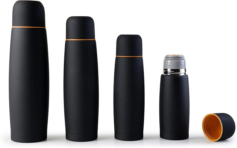 Ibili 745803 - Botella isotérmica para líquidos, acero inoxidable, color negro, 20 x 7 x 7 cm