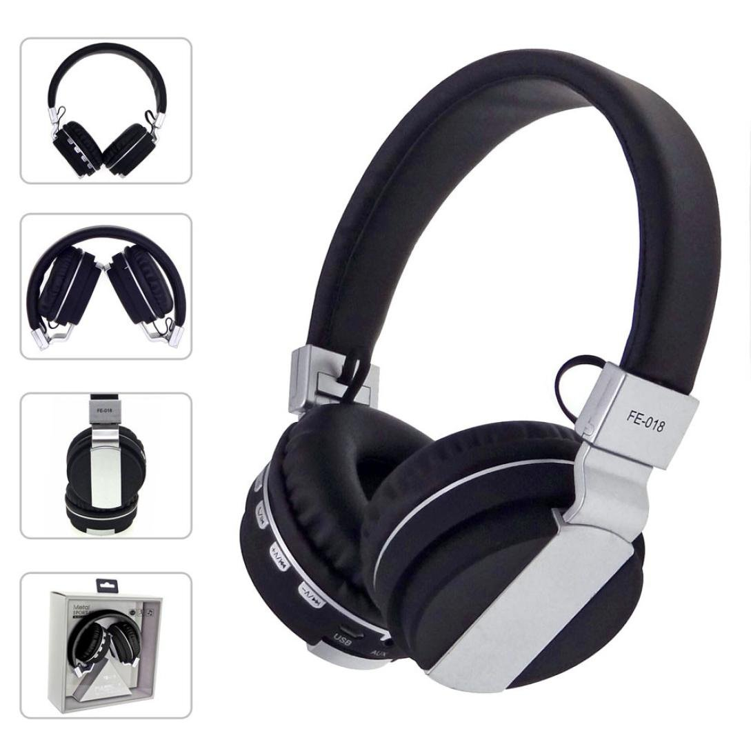 Bluetooth Headphones Over Ear, Stereo USB LED Wired Headset {Foldable,Soft,Noise Isolating}, w/Built-in Mic and Wired Mode for PC/Cell Phones/iPhone/iPod [with 3.5mm] Plug Cord Earphones (Black)