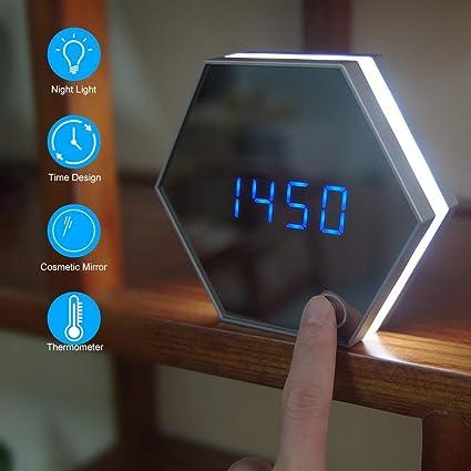 Sundylive LED Digital Alarma Despertador,Portátil Espejo Despertador Luces Reloj Despertador con Alarma Espejo Reloj Digital ...