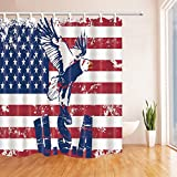 Eagle On America Flag Shower Curtain distressed the Stars and Stripes Vintage Design,70 x 70 Inches Waterproof Mildew Resistant Polyester Fabric home Accessories Bathroom Curtains Hanging Curtain,
