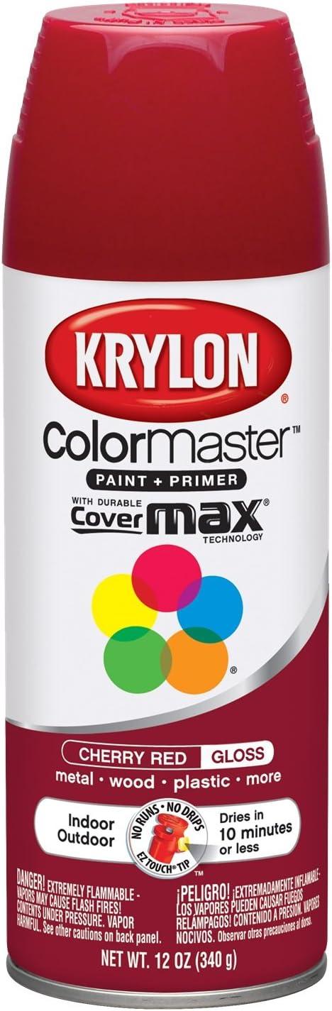 Krylon K05210107 ColorMaster Paint + Primer, Gloss, Cherry Red, 12 oz.