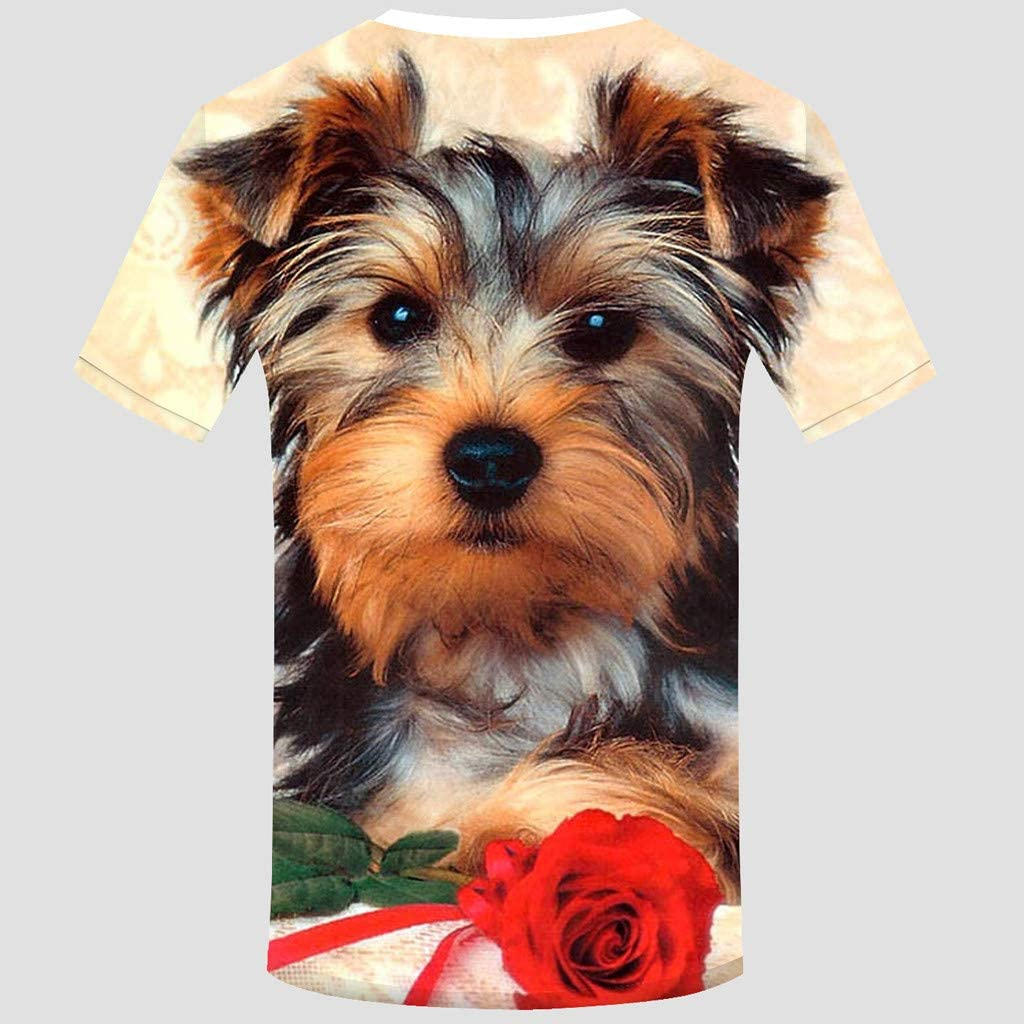 YFancy Unisex Hot Fashion Popular Funny 3D Print Cute Animal Summer Short Sleeve Casual T-Shirts Tank Top Blouse