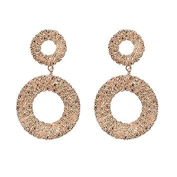 FiedFikt - Pendientes de diamante redondo para mujer, 1 par, oro ...