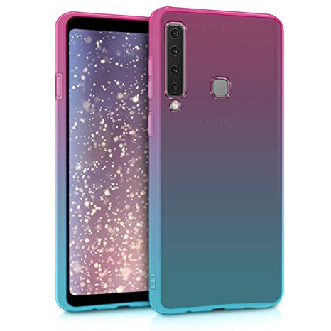 kwmobile TPU Silicone Case for Samsung Galaxy A9 (2018) - Crystal Clear Smartphone Back Case Protective Cover - Dark Pink/Blue/Transparent