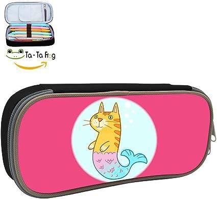 Grrry Meow Cat - Estuche con cremallera para lápices, diseño de sirena en 3D: Amazon.es: Oficina y papelería