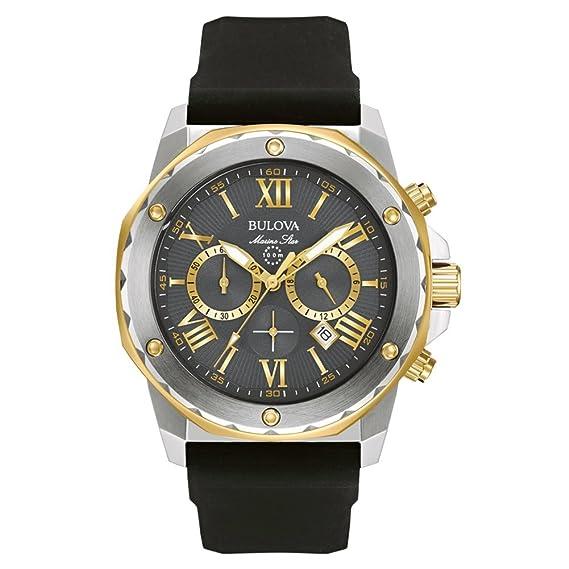 Bulova Marine Star 98B277 - Reloj de Pulsera de Diseño para Hombre - Función de Cronógrafo - Correa de Goma - Resistente al Agua - Acero Inoxidable ...