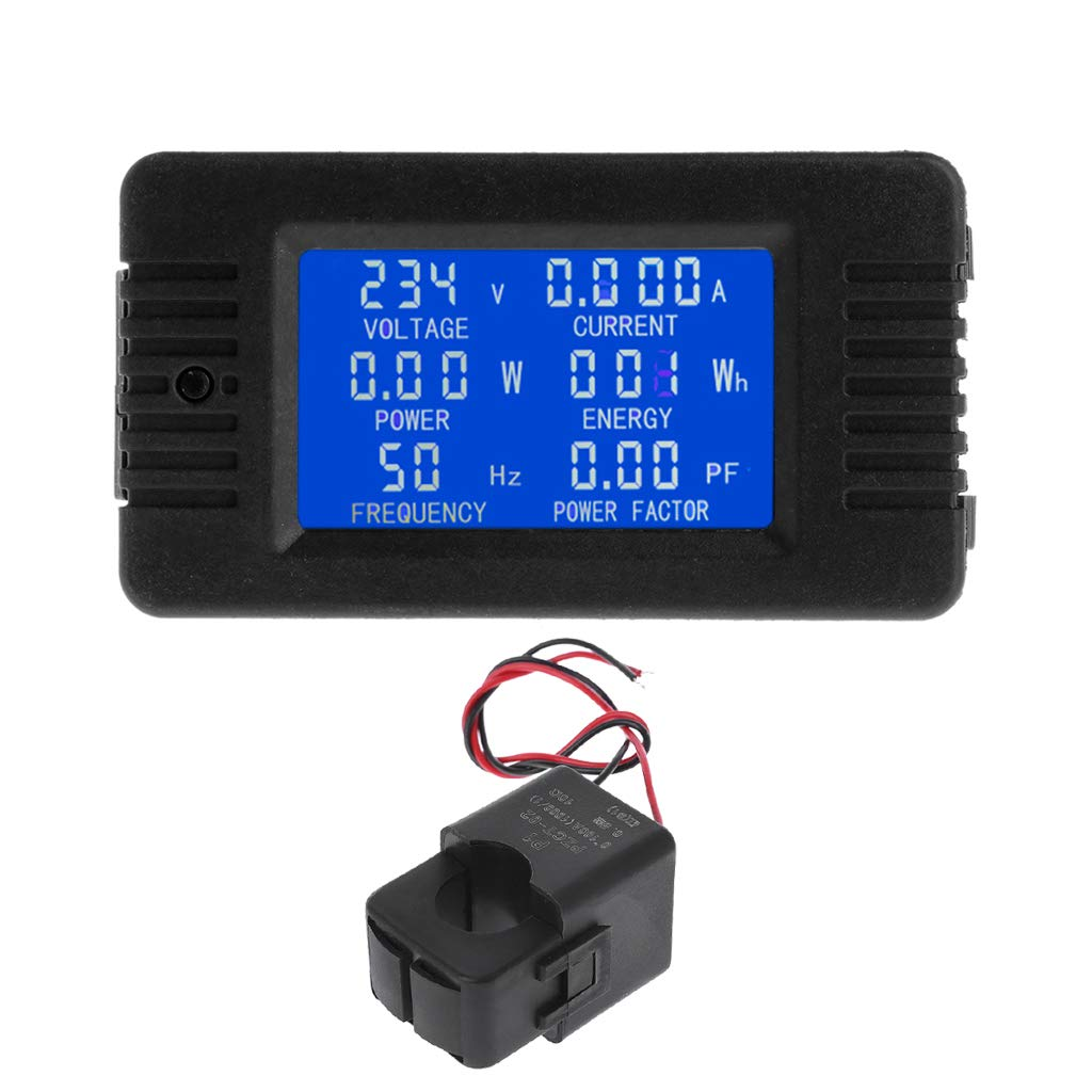 AC 100A 6in1 Digital Power Energy Monitor Voltage Current KWh Watt Meter AC 80~260V 110V 220V with Split CT by LOLOVI
