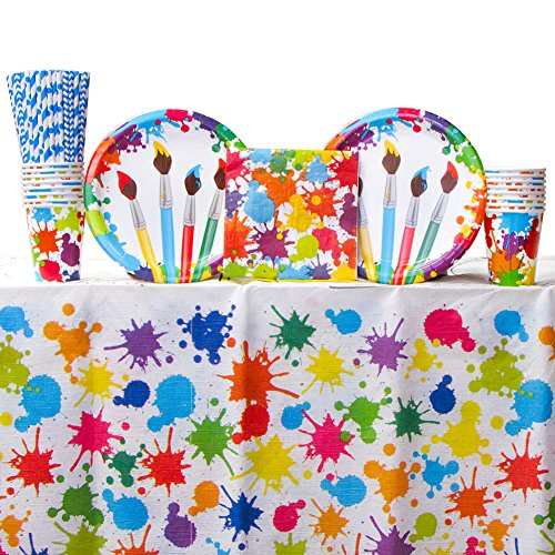 Art Party Supplies Pack Bundle for 16 Guests: Straws, Dinner Plates, Luncheon Napkins, Cups, and Table Cover -
