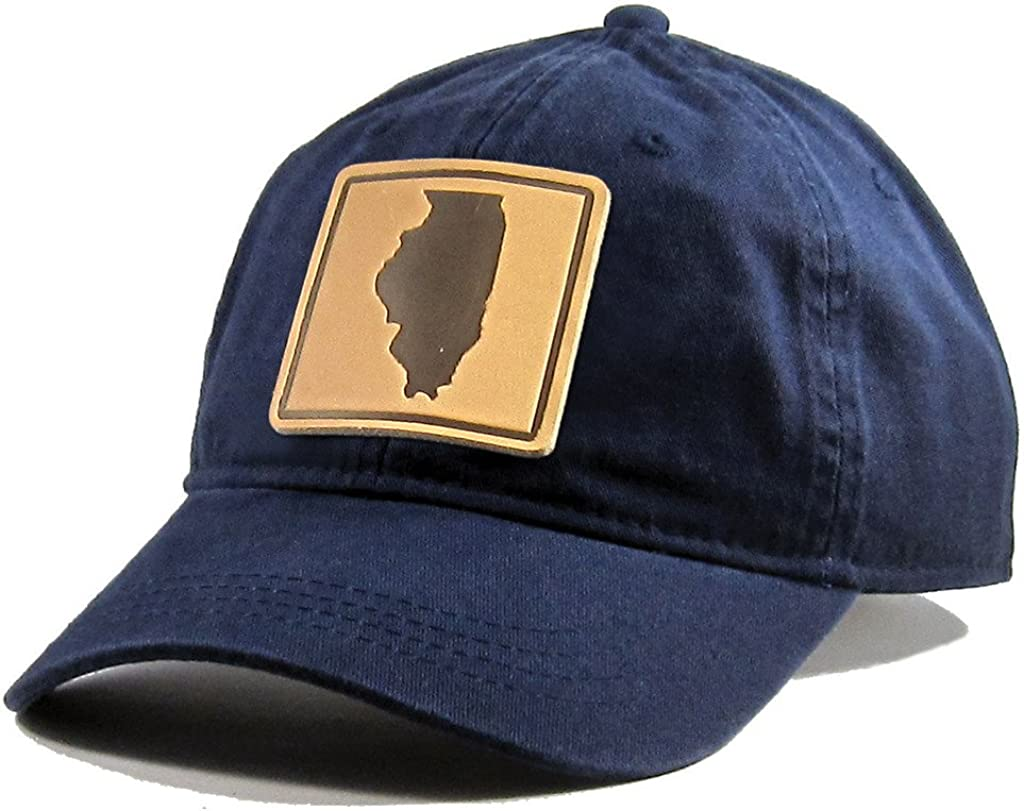 Homeland Tees Mens Illinois Leather Patch Cotton Twill Hat