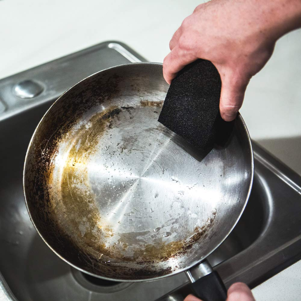 Limpieza Esponja y estropajo con Rahina - Piedra - negro Caspio - mejor goma de borrar esponjas de limpieza para cocina, baño, fregaderos de ollas, ...