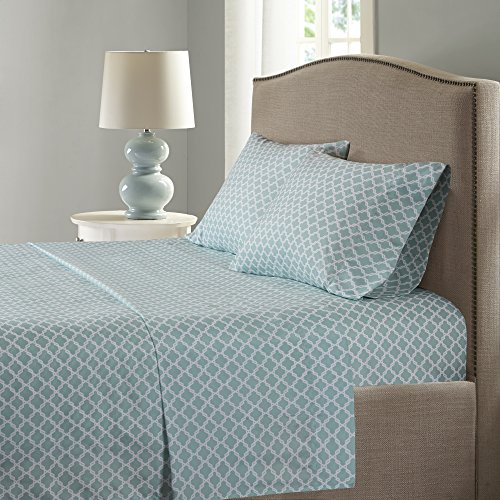 Comfort Spaces - Microfiber Printed Smart Cool Sheets Set - CoolMax Fabric Blended For Moisture Wicking- 4 Piece - King -Blue with Geometric Pattern Incl. Flat Sheet, Fitted Sheet and Pillow Cases